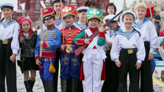 Children  on Red Square during 8-th sports forum GTO Stock Footage