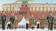 Stock Video Footage of Children collective performance on Red Square