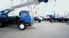 Crane trucks on 13th International Specialized Exhibition Stock Footage