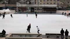 Toronto Outdoor Ice Skating Stock Footage