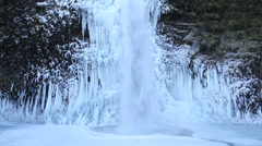Horsetail Falls Frozen in Winter along Columbia Gorge Portland Oregon 1080p Stock Footage