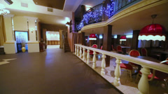 Interior of empty hall at restaurant in classical style - stock footage