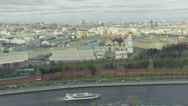 Stock Video Footage of Ship sails down Moskva river and cars ride by road on quay