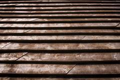 Brown wood plank overlapping roof texture background Stock Photos