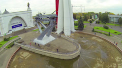 Rocket monument in square of exhibition center at VVC Stock Footage