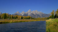 MOUNT TETON AND SNAKE RIVER (ZOOM IN) Stock Footage