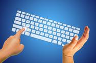 Stock Illustration of computer keyboard and hand
