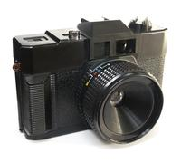 Black primitive plastic camera Stock Photos