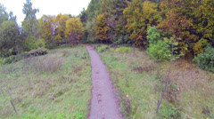 Narrow path in the forest in autumn day, moving camera Stock Footage