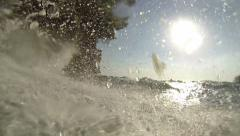 Waves Breaking Over Camera Stock Footage