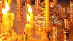 Prayer candles at a church in rome Stock Footage