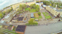 Prison complex near tram depot during the day, aerial view Stock Footage