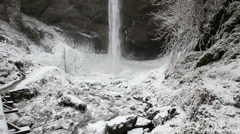 Latourell Falls Frozen in Winter along Columbia River Gorge Portland Oregon Stock Footage