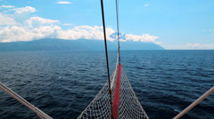 Ship sails to Mount Athos, autonomous monastic state of the holy mountain,Greece Stock Footage