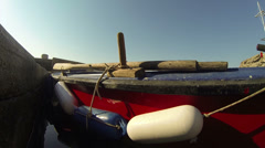 Wooden Fishing Boat Floating Stock Footage