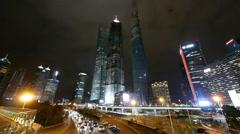 Panoramic view of urban traffic & skyscraper,night illuminated cityscape. Stock Footage