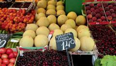 Shop counter with fruits - stock footage