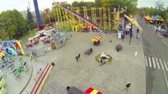 City park of attractions in autumn day at VVC Stock Footage