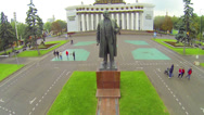 Stock Video Footage of Statue of Lenin in front of People of Russia Academy at VVC