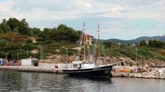 Ship at shore, Aegean Sea, Chalkidiki, Greece Stock Footage