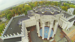 Original star shaped roof of building, above view Stock Footage