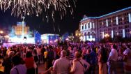 Stock Video Footage of People watch fireworks after holiday concert
