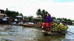 Cai Rang Floating market. Mekong delta, Vietnam Stock Footage