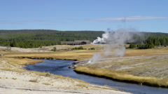 OLD FAITHFUL – HOT SPRINGS AREA (ZOOM IN) Stock Footage