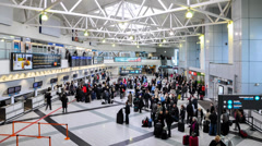 Time lapse of passengers check in at Liszt Ferenc Airport. Budapest, Hungary Stock Footage