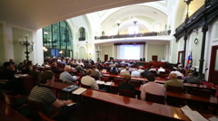 Back of listeners on Russia Marine Industry Conference 2012 Stock Footage