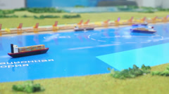 Miniature models of ships on the improvised water surface Stock Footage