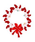Stock Illustration of Christmas Wreath with Christmas Stocking and Red Bow