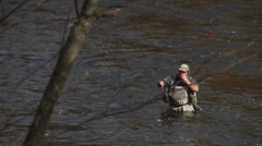 Man fly fishing in river (2 of 3) Stock Footage