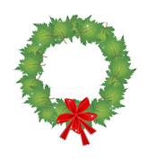 Christmas Wreath of Green Maple Leaves and Bows - stock illustration