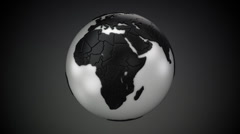 Rotating Globe Black on White Stock Footage