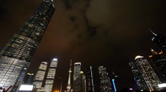 Urban skyscraper at night,shanghai pudong business center landmark. Stock Footage