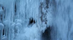 Multnomah Falls Frozen in Winter Portland Oregon 1080p Closeup Stock Footage