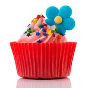 Stock Photo of colorful single cupcake in red and pink