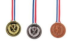 Gold silver and bronze medals Stock Photos