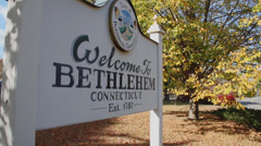 Welcome to Bethlehem sign (1 of 2) Stock Footage