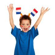 dutch child as soccer fan - stock photo