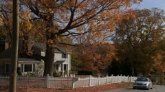 Country road with house in Autumn (1 of 3) Stock Footage
