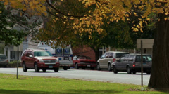 Road with quiet parklike setting nearby (1 of 2) Stock Footage