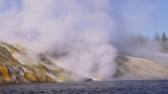 YELLOWSTONE PARK – MIDWAY BASIN GEYSER (ZOOM OUT) Stock Footage