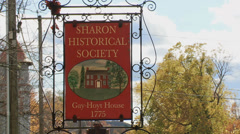Sharon Historical Society sign (1 of 2) Stock Footage
