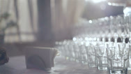 Stock Video Footage of DOLLY motion: Crystal glasses for cocktail party