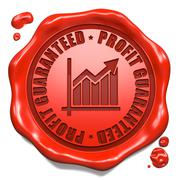 Profit Guaranteed - Stamp on Red Wax Seal. - stock illustration