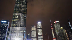 Urban building,shanghai lujiazui economic center & pearl-tower at night. Stock Footage