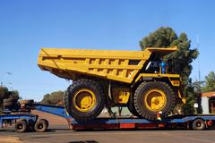 delivery of a truck for a goldmine - stock photo