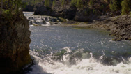 UPPER YELLOWSTONE FALLS – RIVER (ZOOM OUT) Stock Footage